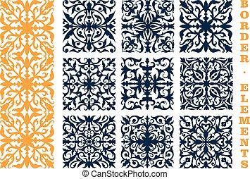 ornamental, floral, fronteiras, com, flores, e, folhas