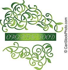 Ornamental floral organic food logo.