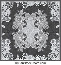 Ornamental floral paisley bandanna. Pattern for design of carpet, shawl, pillow, cushion
