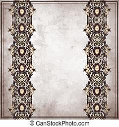 Ornamental floral pattern  on grunge paper background