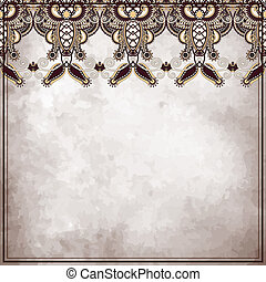 Ornamental floral pattern, on grunge paper background