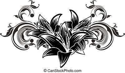 ornamental, flores, desenho