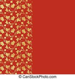 ornamental, florett, guld, bakgrund