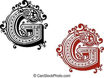 ornamental, flourishes, brev g