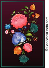 Ornamental flower design of Khokhloma a Russian style painting