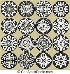 Ornamental flowers decors - A set of ornamental flowers...