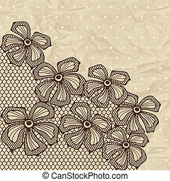 ornamental, flowers., plano de fondo, viejo, encaje
