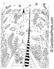 ornamental, fodra, grafisk, blommig, vector., pattern., hand, adult., färglag beställ, svart, artwork., fish, oavgjord, vita sida, zentangle.