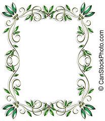 ornamental, folhas, quadro