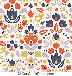 Ornamental folk tulips seamless pattern background - Vector...
