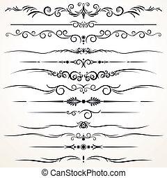 ornamental, forskellige, linjer, regel, konstruktion