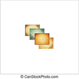 ornamental frame vintage backgrounds symbols set