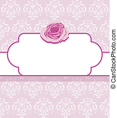 Ornamental frame with pink rose