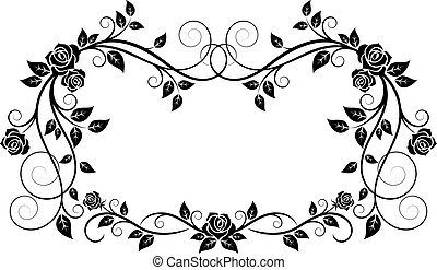 Ornamental frame with rose flowers in vintage style