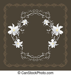 Ornamental frame with white flowers on the dark brown...