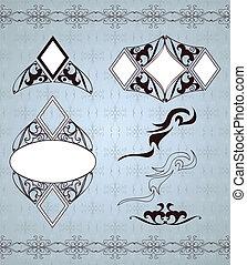 Ornamental frames and sign designs. Vector set