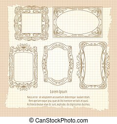 Ornamental frames on vintage background