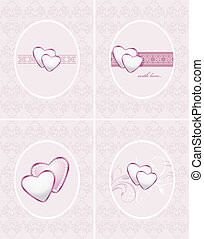 Ornamental frames with hearts