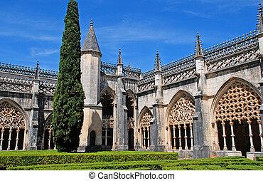 ornamental, gótico, medieval, batalha, mosteiro, e, jardim,...