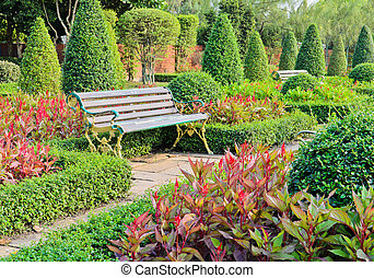 Bench in the ornamental garden