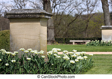 Details of an ornamental garden with tulips