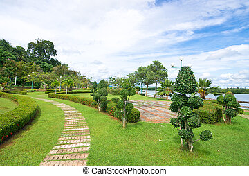 Stone footpath in ornamental garden
