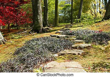 Stone walkway through ornamental garden.
