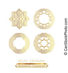 Ornamental gold circle frames
