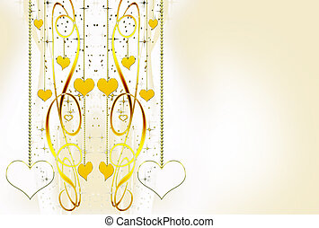 ornamental golden hearts and stars on a white background