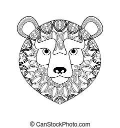 ornamental, gráfico, predador, urso, vetorial, animal, icon., design.