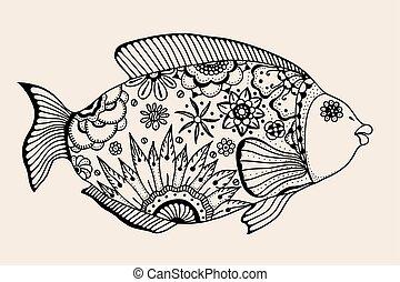 ornamental graphic fish. Vector vintage engraving....