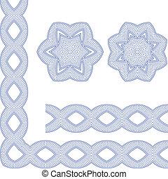ornamental, guilloche, seamless, padrão