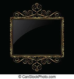 ornamental, guld, og, sort, ramme