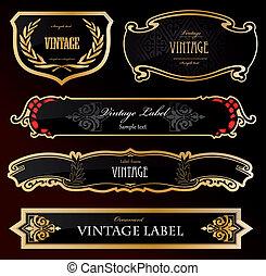 ornamental, gylden, etiketter, sort, vektor