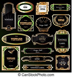 ornamental, gylden, sæt, labels., vektor, sort, rammer