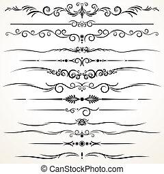 ornamental, härska, fodrar, in, olik, design