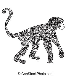 Ornamental hand drawn sketch monkey