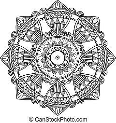 Ornamental hand drawn zentangle inspired mandala, line art,...