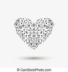 Ornamental heart - floral design.