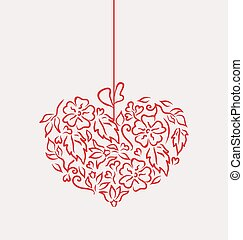 Ornamental heart in hand drawn style for Valentine Day, isolated on white background