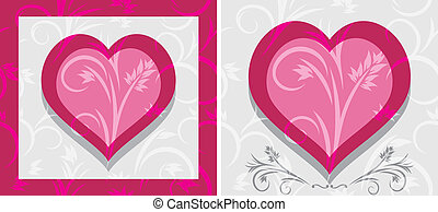 Ornamental hearts. Two icons
