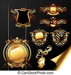 ornamental, heraldic, jogo, elementos