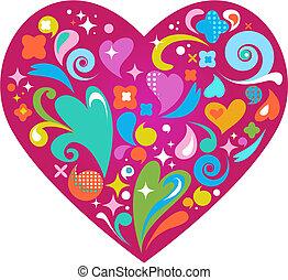 ornamental, hjerte, dag valentines, vektor