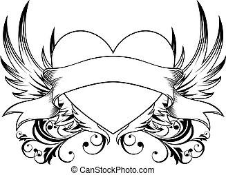 ornamental, hjerte, emblem