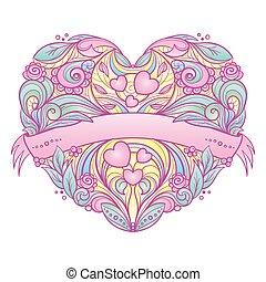 ornamental, hjerte, pattern., blomstrede
