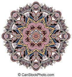 ornamental, hymne, lotus, symbol, mandala, indisk, cirkel