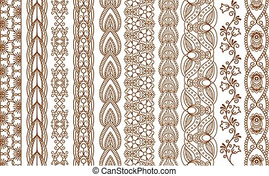 Indian Henna Seamless Borders - Ornamental Indian Henna...