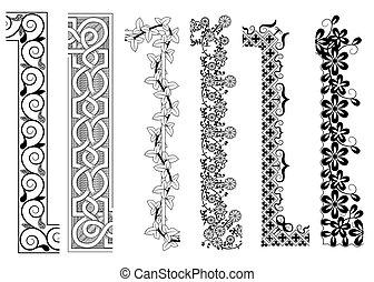 ornamental, interior, seamless, padrões, canto, borda, exterior