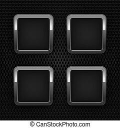 ornamental, jogo, botões, teia, cromo, fundo, em branco