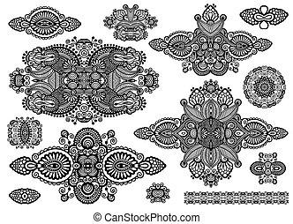 ornamental, jogo, cobrança, floral, pretas, adorno, branca